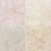 Four different texture of a light marble. (high.res.)