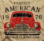 image of car symbol  - Old American Car Vintage Classic Retro man T shirt Graphic Design - JPG