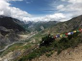 Traditional Prayer Flags In Himalayan Landscape