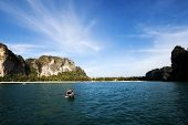 Railay bay, Thailand. Picturesque rocks on the background