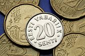 Coins of Estonia. Old Estonian 20 senti coin.