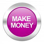 make money violet circle chrome web icon isolated