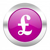 pound violet circle chrome web icon isolated