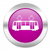 tram violet circle chrome web icon isolated