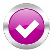 accept violet circle chrome web icon isolated