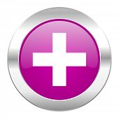 plus violet circle chrome web icon isolated
