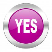 yes violet circle chrome web icon isolated