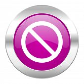 access denied violet circle chrome web icon isolated