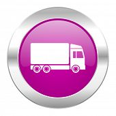 delivery violet circle chrome web icon isolated