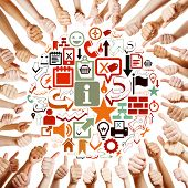 Hands around many different digital icons holding thumbs up