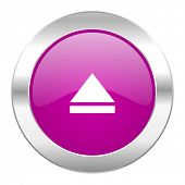 eject violet circle chrome web icon isolated