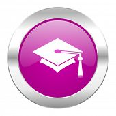 education violet circle chrome web icon isolated
