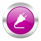 plug violet circle chrome web icon isolated