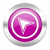 navigation violet circle chrome web icon isolated
