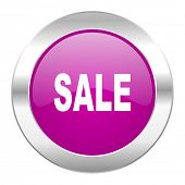 sale violet circle chrome web icon isolated