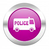 police violet circle chrome web icon isolated