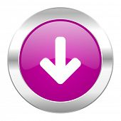 download arrow violet circle chrome web icon isolated