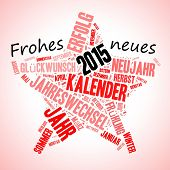 Star shape wishing in German Frohes Neues Jahr (happy new year) 2015