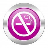 no smoking violet circle chrome web icon isolated