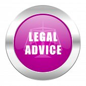 legal advice violet circle chrome web icon isolated
