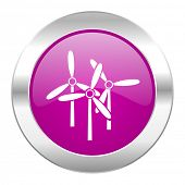 windmill violet circle chrome web icon isolated