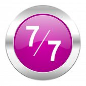 7 per 7 violet circle chrome web icon isolated