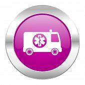 ambulance violet circle chrome web icon isolated