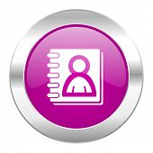 address book violet circle chrome web icon isolated