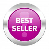 best seller violet circle chrome web icon isolated