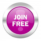 join free violet circle chrome web icon isolated
