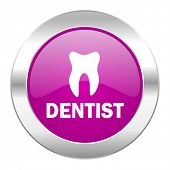 dentist violet circle chrome web icon isolated