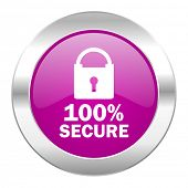 secure violet circle chrome web icon isolated