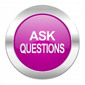ask questions violet circle chrome web icon isolated