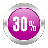 30 percent violet circle chrome web icon isolated