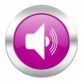 volume violet circle chrome web icon isolated