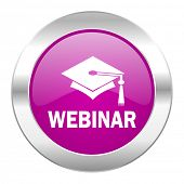 webinar violet circle chrome web icon isolated