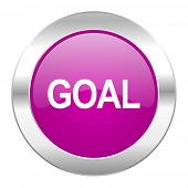 goal violet circle chrome web icon isolated