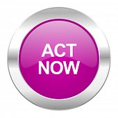 act now violet circle chrome web icon isolated