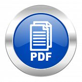 pdf blue circle chrome web icon isolated,