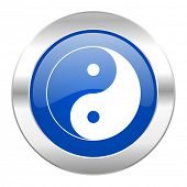 ying yang blue circle chrome web icon isolated