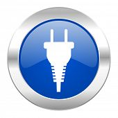 plug blue circle chrome web icon isolated
