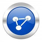 chemistry blue circle chrome web icon isolated
