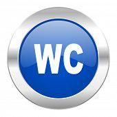toilet blue circle chrome web icon isolated