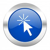 click here blue circle chrome web icon isolated
