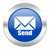 send blue circle chrome web icon isolated