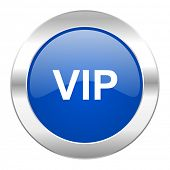 vip blue circle chrome web icon isolated