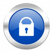 padlock blue circle chrome web icon isolated