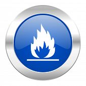 flame blue circle chrome web icon isolated
