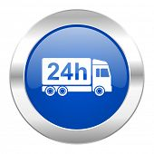 delivery blue circle chrome web icon isolated