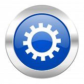 gears blue circle chrome web icon isolated